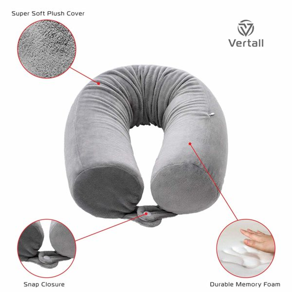 Vertall Travel Pillow Adjustable Memory Foam for Neck, Chin, Back, and Leg Support